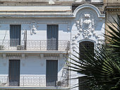 Abstract shot of a colonial style building facade in Algiers (Algeria)