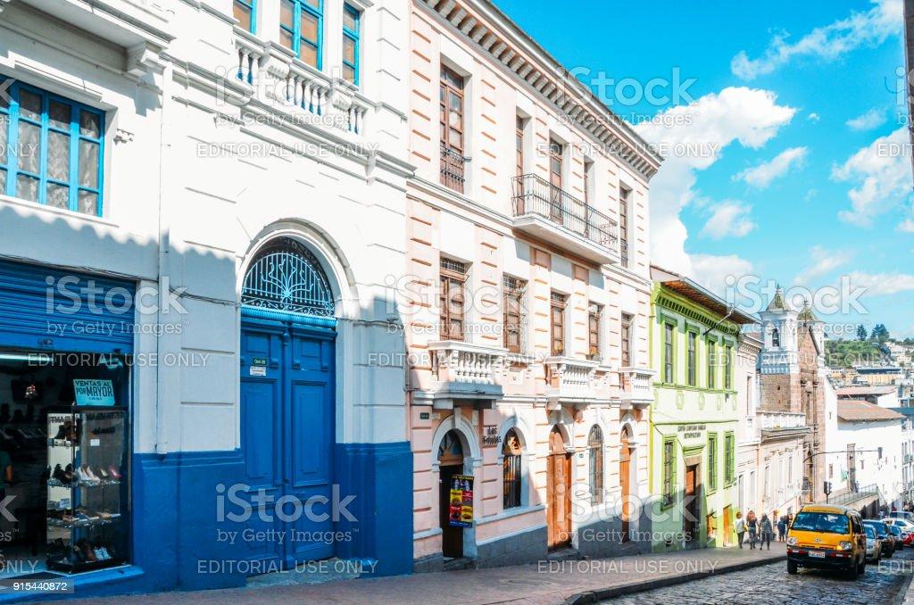Colonial Style Architecture In The Historic Centre Of Quito Ecuador