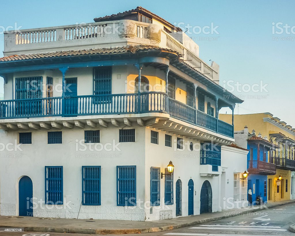 Colonial Style Buildings in Cartagena stock photo