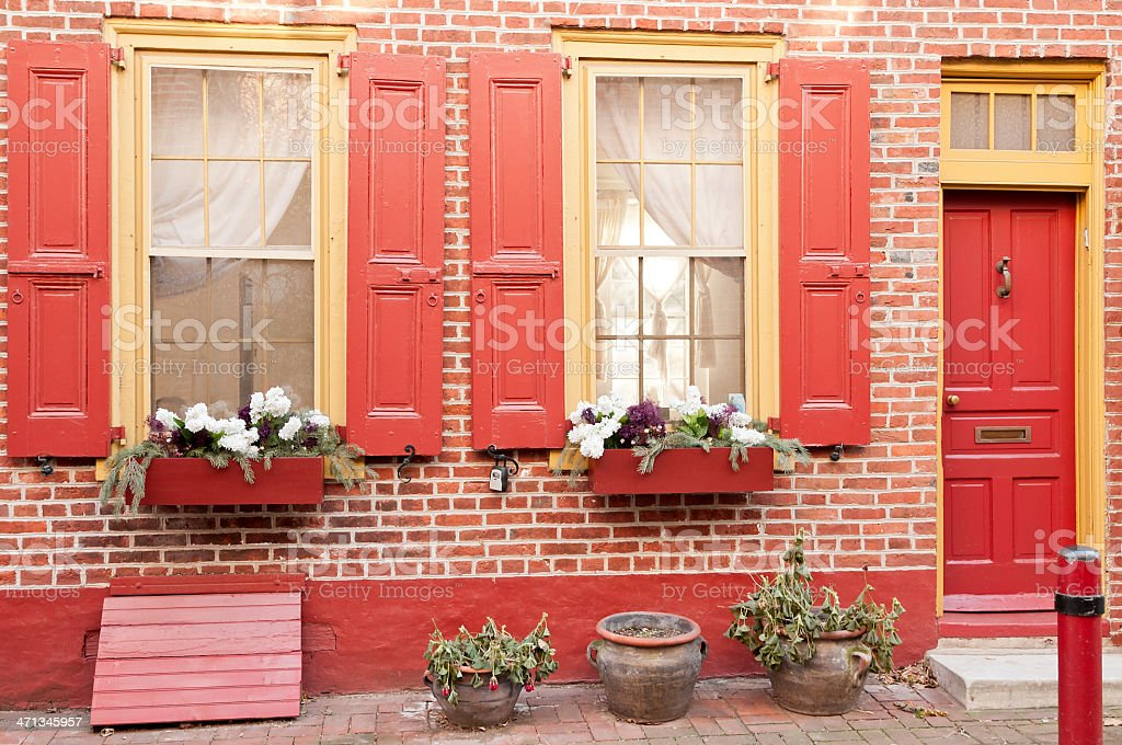 Colonial style houses of Elfreth's Alley in Philadelphia royalty-free stock photo