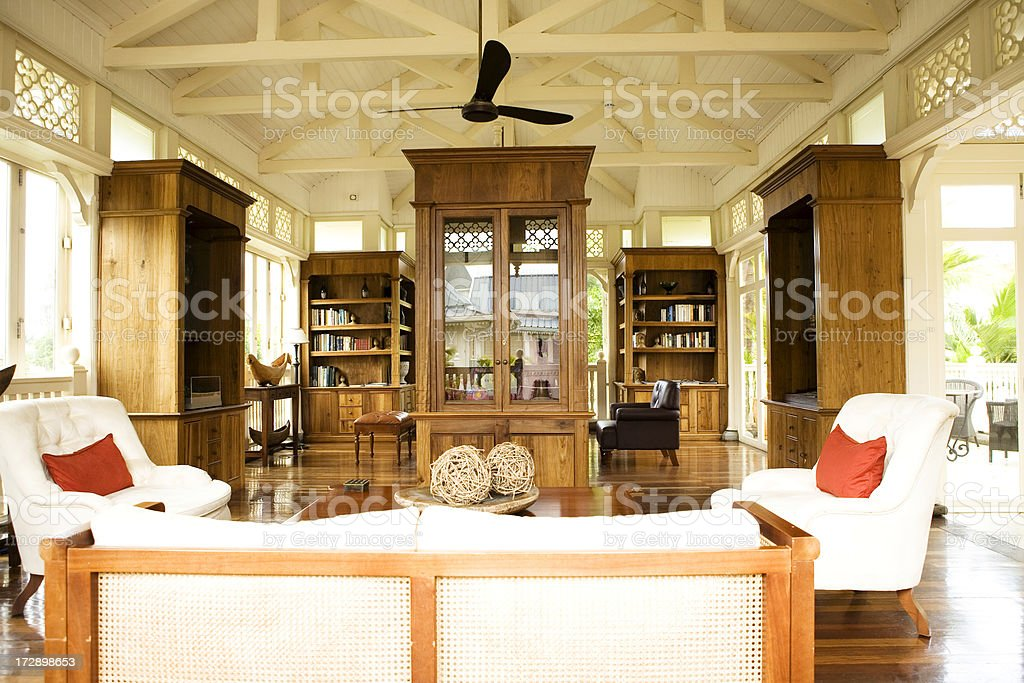 Colonial Style Office and Sitting Room stock photo