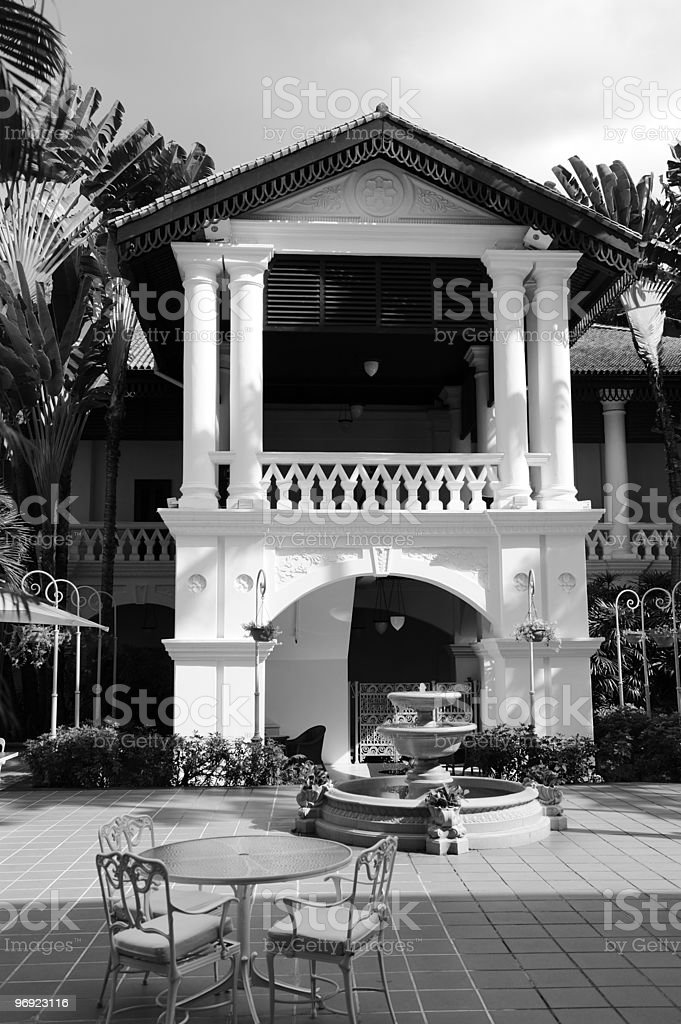 Colonial style porch in Singapore royalty-free stock photo