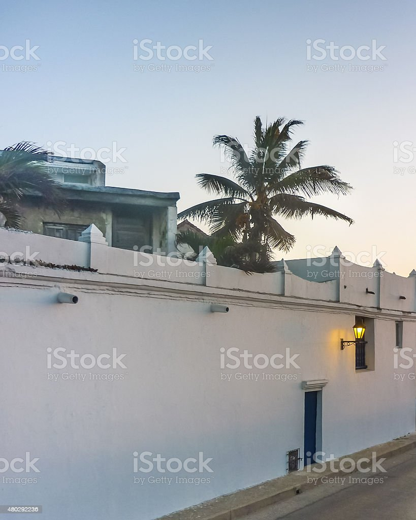 Colonial Style Street in Cartagena Colombia stock photo