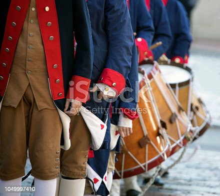 Colonial United States outfits and drum corps.