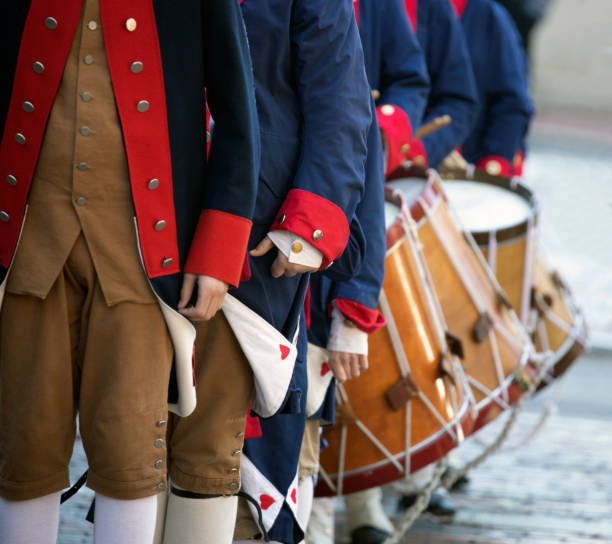 Colonial United States Colonial United States outfits and drum corps. colonial style stock pictures, royalty-free photos & images
