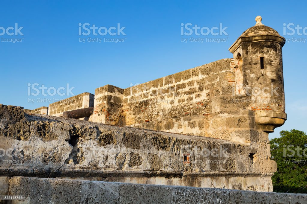 Colonial Wall and Blue sky stock photo