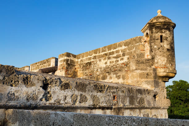colonial wall and blue sky - cartagena museum stock photos and pictures