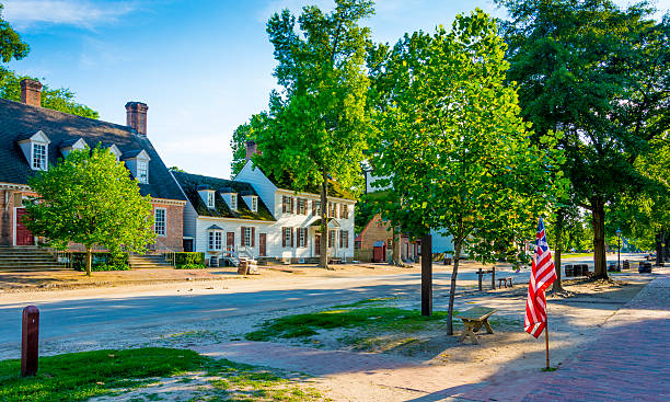 Colonial Williamsburg - Virginia A view down the main street in Colonial Williamsburg - Virginia. A historic area of the USA. colonial style stock pictures, royalty-free photos & images