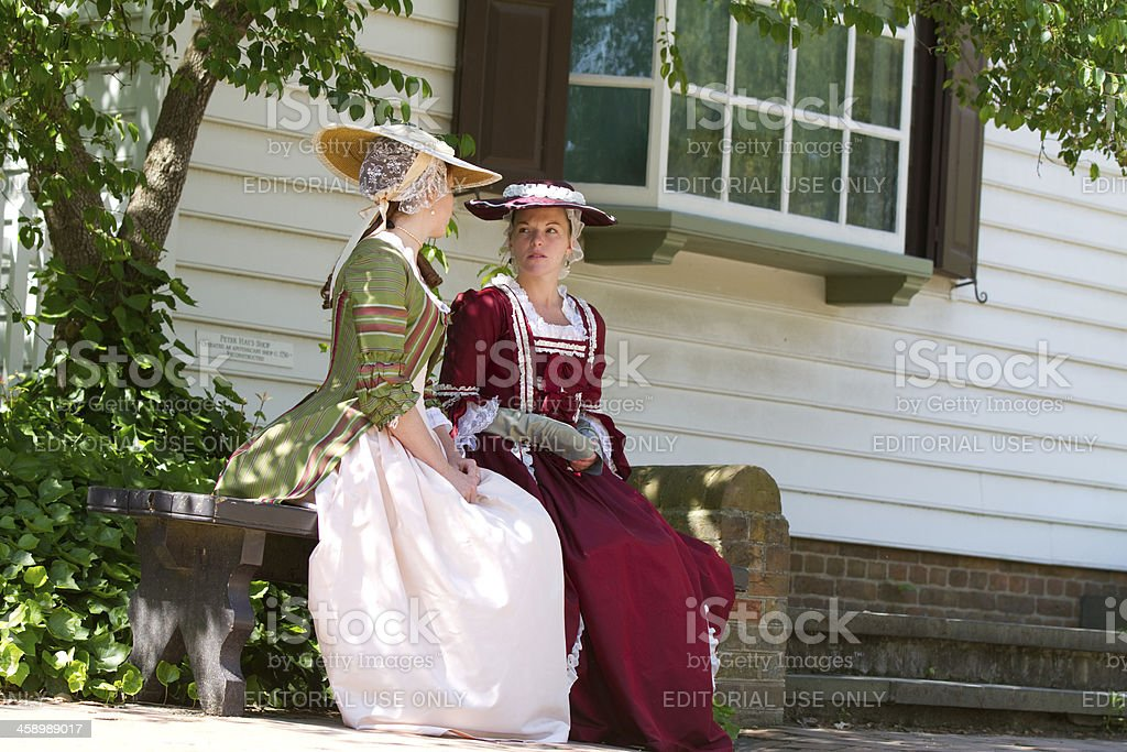colonial women in Williamsburg, Va stock photo