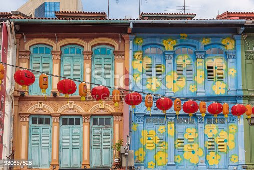 Painted terraced old residential building in Chinatown, Singapore.