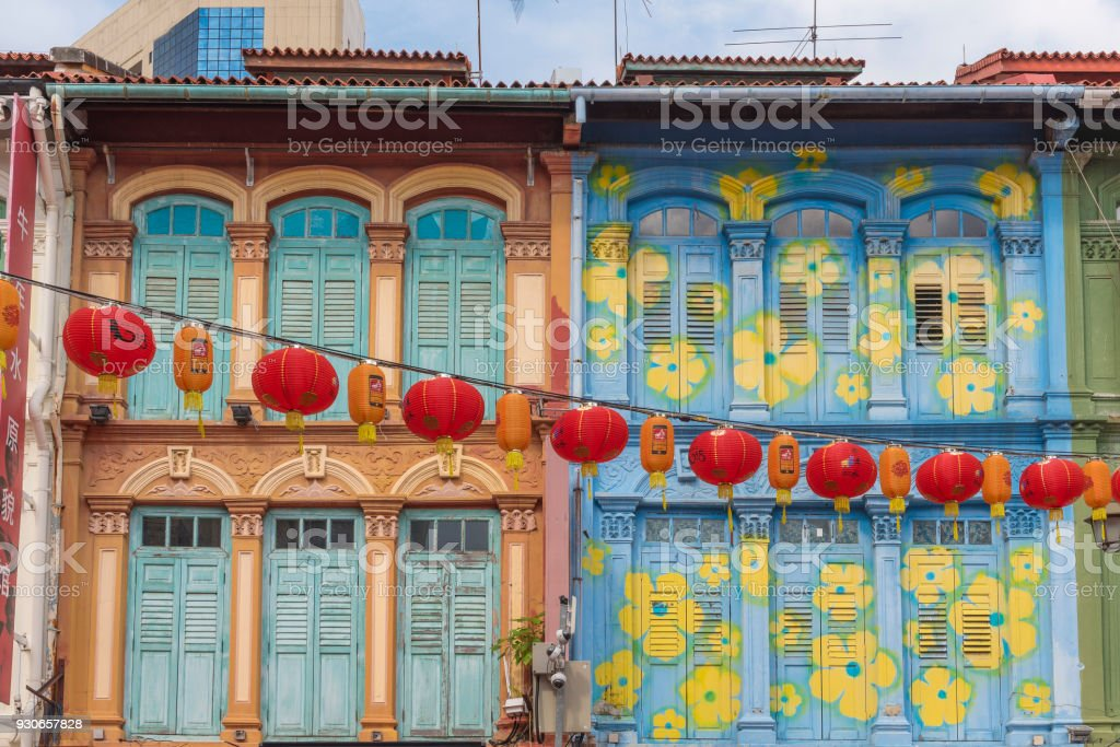 Colonial-era colorful painted buildings in Singapore stock photo