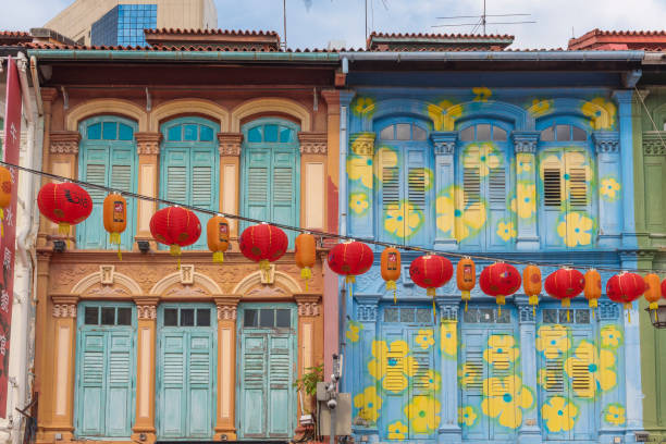 colonial-era colorful painted buildings in singapore - singapore stock photos and pictures