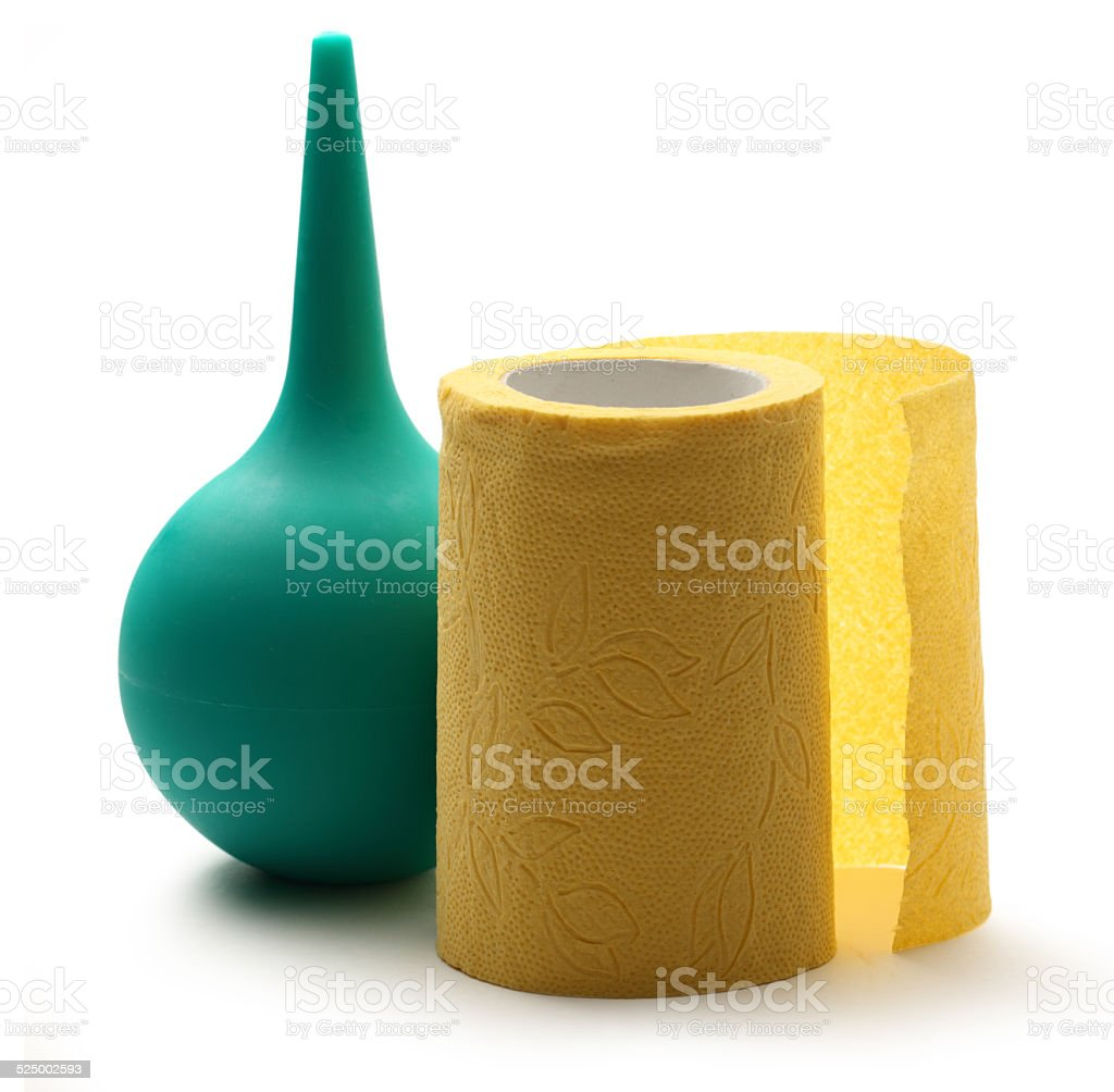 Colonic bulb and toilet paper stock photo