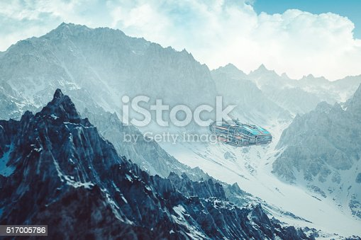 istock Colonization mothership flying low between alien mountain peaks 517005786