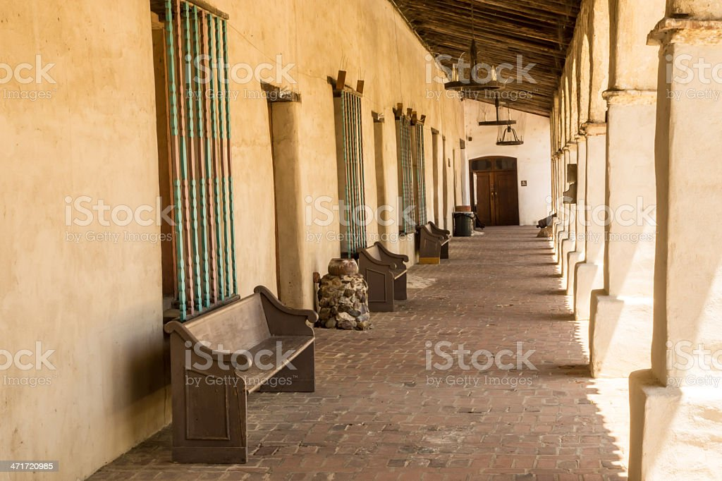 Colonnade at a Spanish Mission royalty-free stock photo