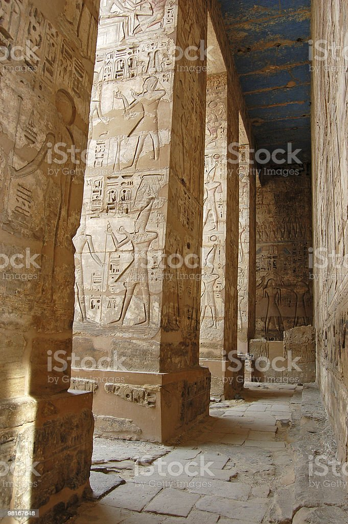 Colonnade at Medinet Habu, Luxor royalty-free stock photo