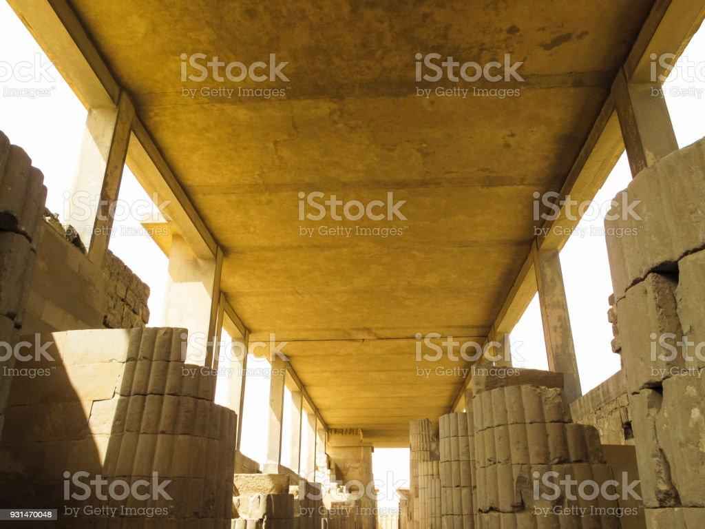 Colonnade at Pyramid of Djoser at Saqqara in Memphis, Egypt stock photo