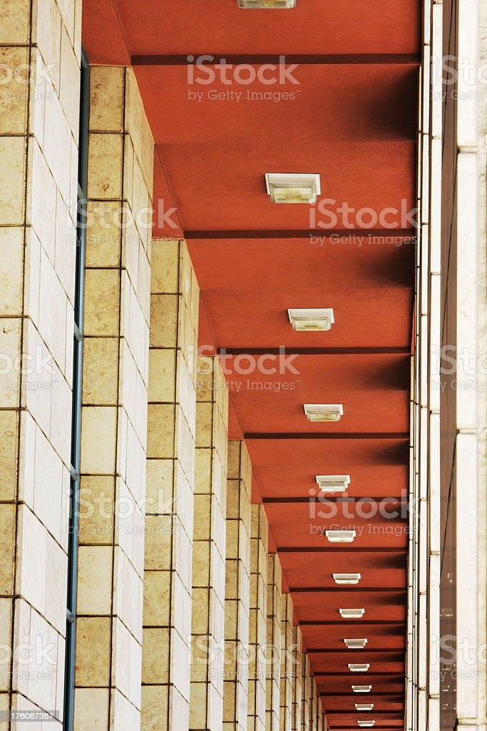 Colonnade Corridor Column Light Architecture stock photo