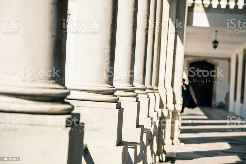 Colonnade in Coimbra's Historical University royalty-free stock photo