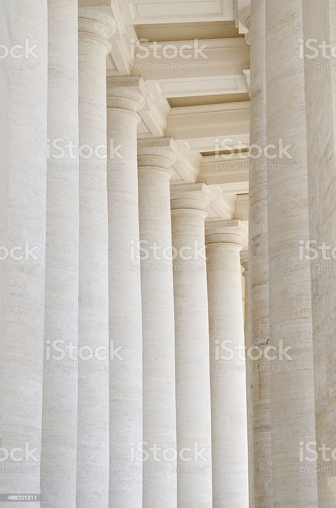 Colonnade in Piazza San Pietro (St Peter's Square) in Vatican stock photo