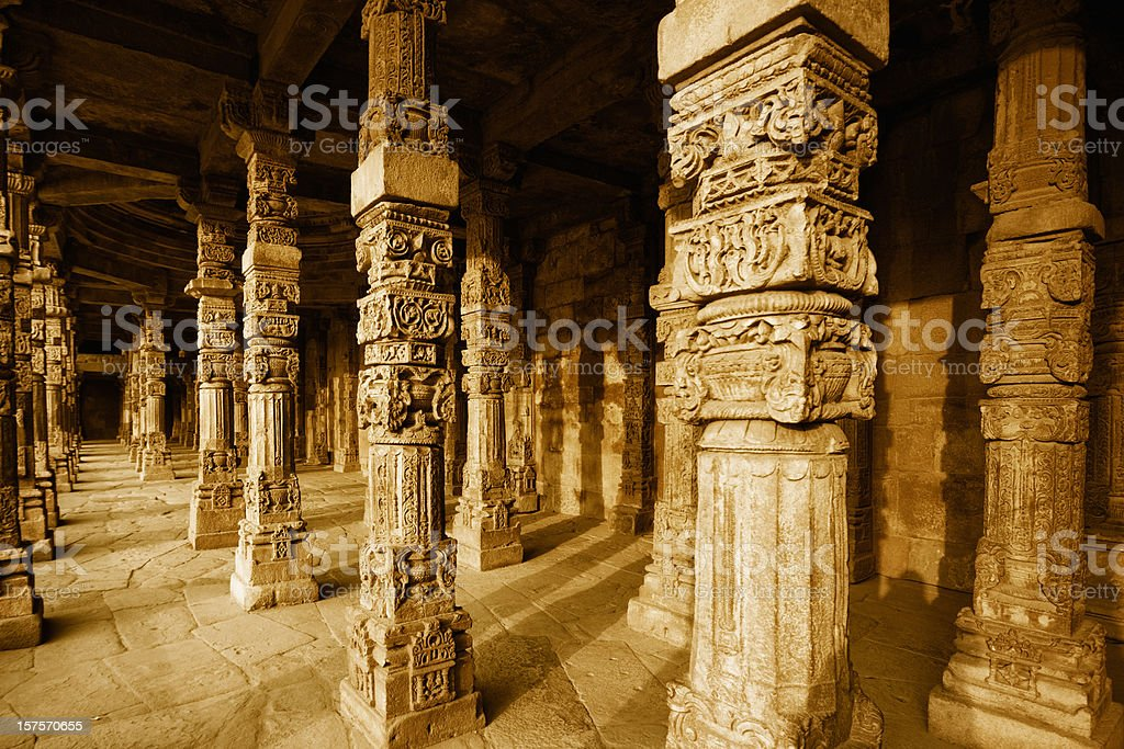 Colonnade in Quitab Minar Temple royalty-free stock photo