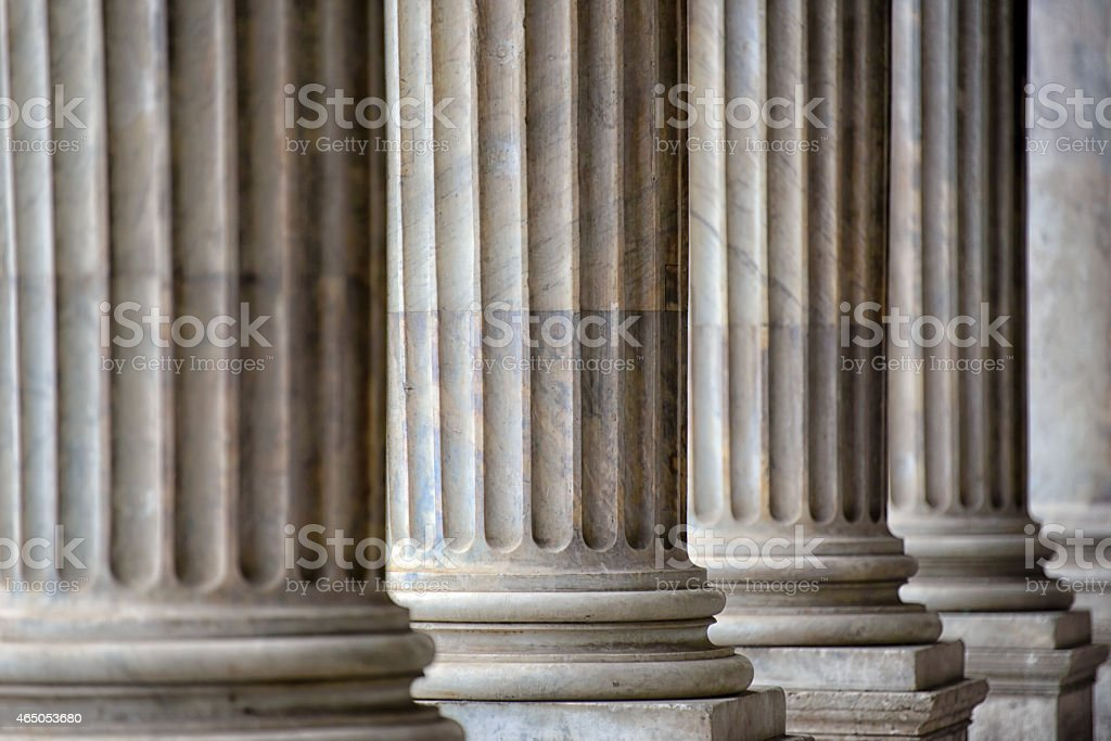 Colonnade In Rome Close Up stock photo
