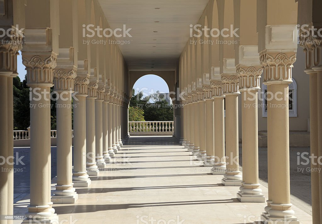 Colonnade in Sharjah, UAE stock photo