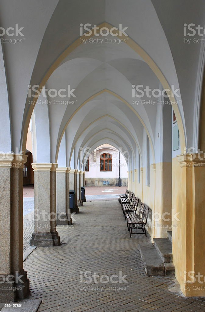 Colonnade in Telc stock photo
