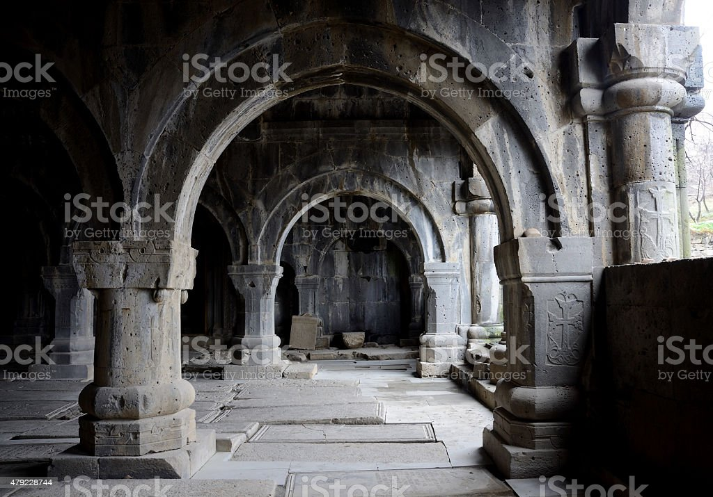 Colonnade inside medieval christian church of Sanahin Monastery,Armenia,unesco stock photo