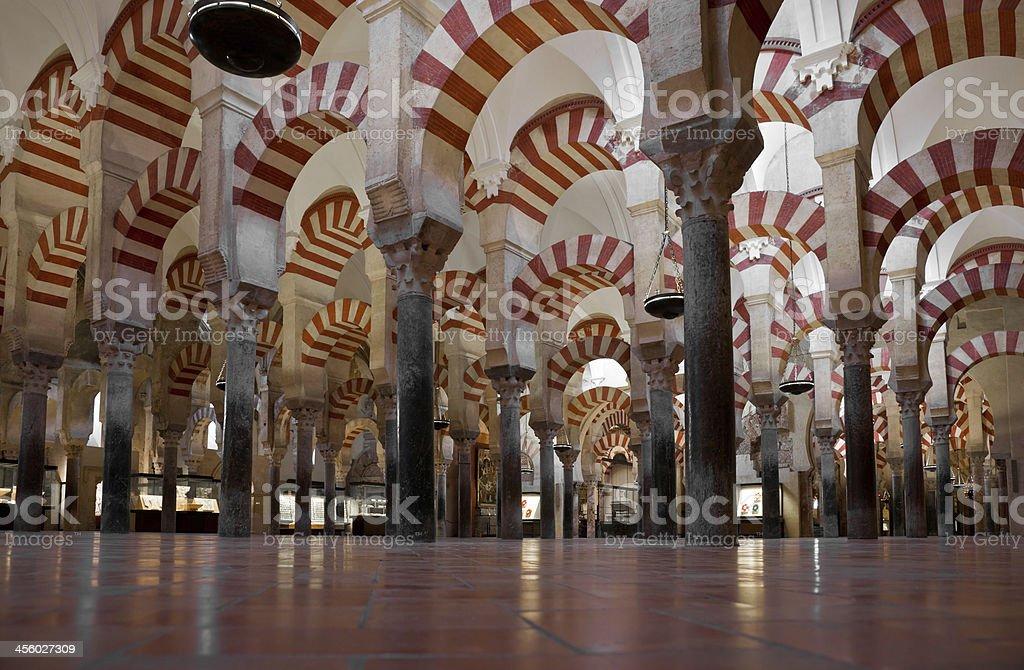 Colonnade of La Mezquita Cathedral (Córdoba Mosque) stock photo