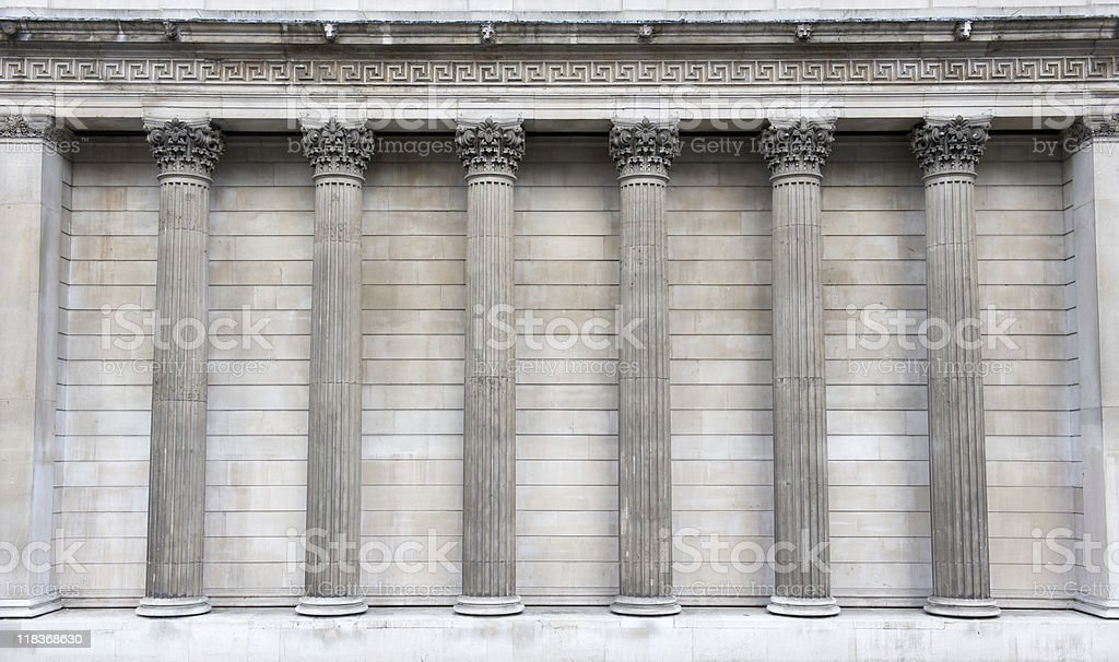 Colonnade of pillars stock photo