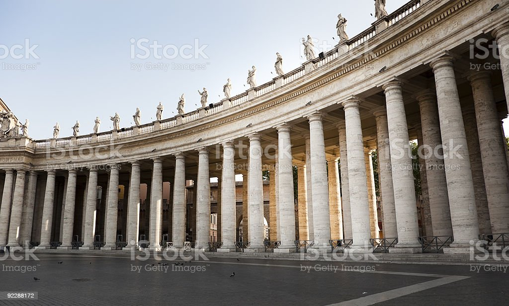 Colonnade of St. Peter's Sqare. stock photo