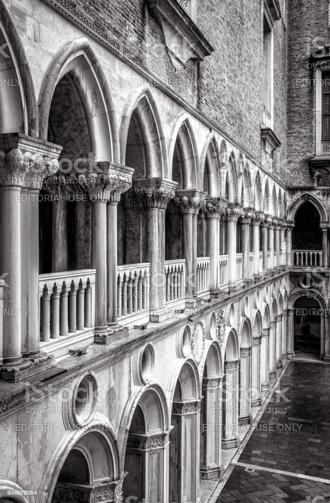 Colonnade Of The Doges Palace Courtyard Venice Italy Stock Photo