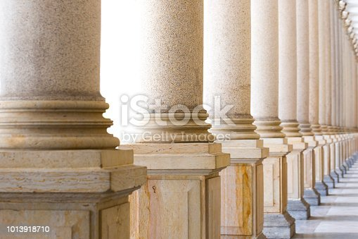 Row of classical columns, Mlynska colonnade Karlovy Vary Czech Republic established 1881, full frame horizontal composition