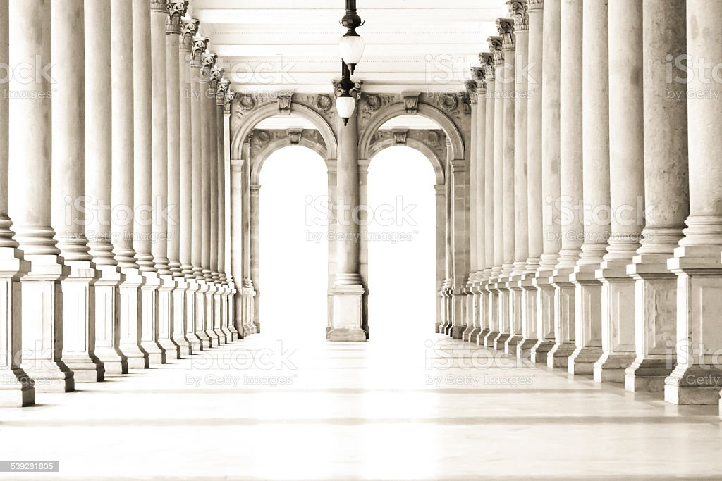 Colonnade with classical style columns stock photo