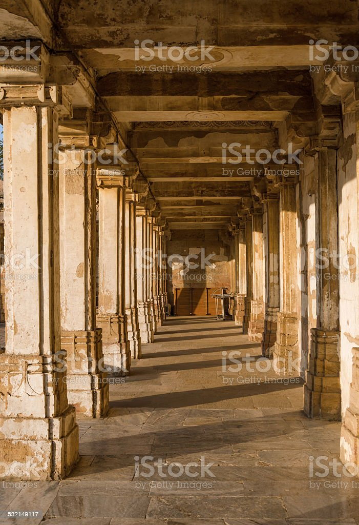 Colonnaded cloister of historic Tomb at Sarkhej Roza mosque stock photo