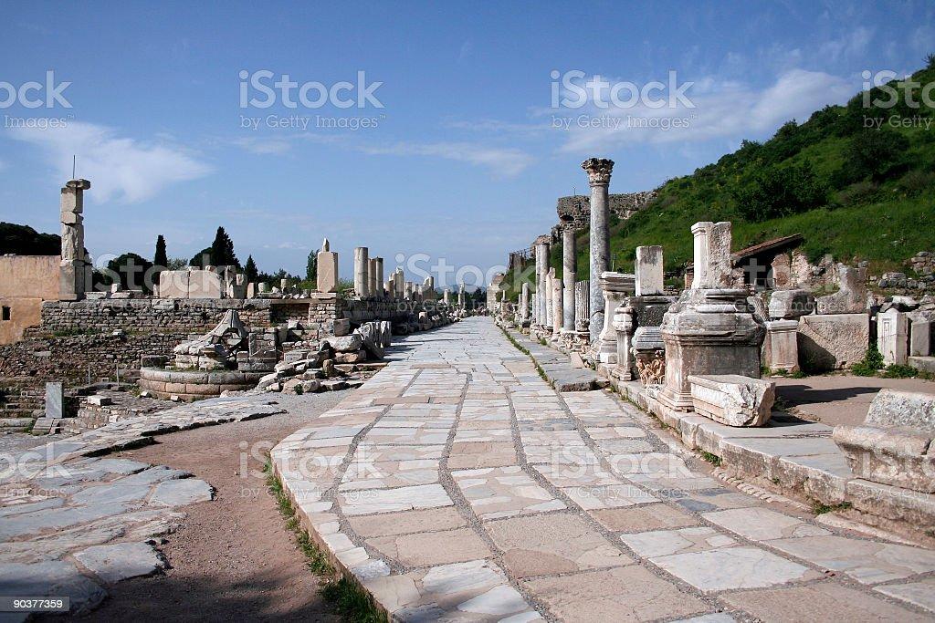 Colonnaded Roman Street - Ephesus royalty-free stock photo