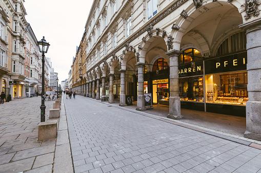 Colonnaden street in Hamburg.
