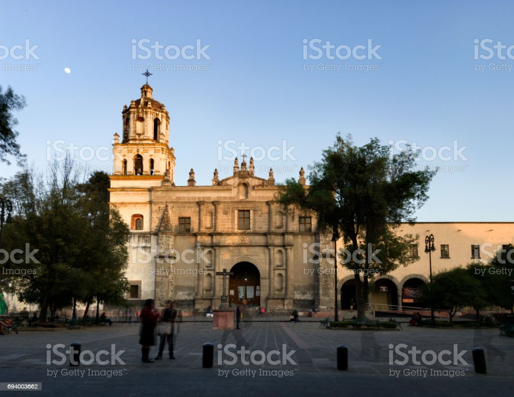 Colonoial cathedral of Coyoacan, Mexico City Multiple exposure of the colonoial cathedral of Coyoacan, Mexico City, Mexico Mexico Stock Photo