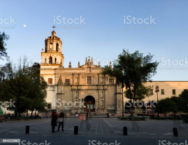 Colonoial Cathedral Of Coyoacan Mexico City Stock Photo - Download Image Now
