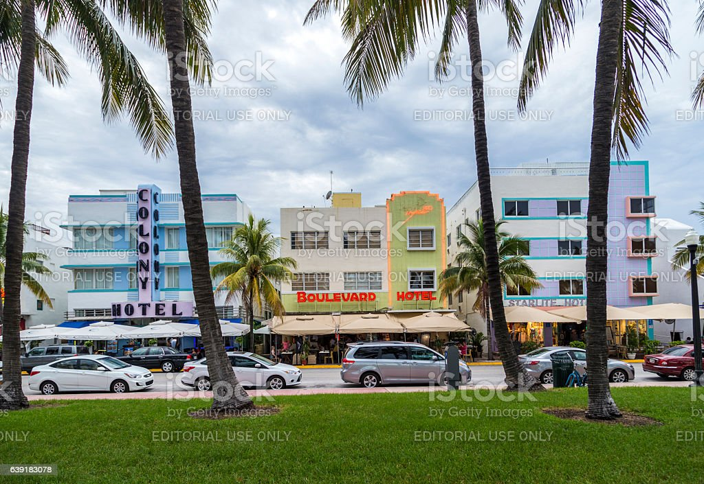 Colony hotel and other at  Ocean Drive in South Beach stock photo