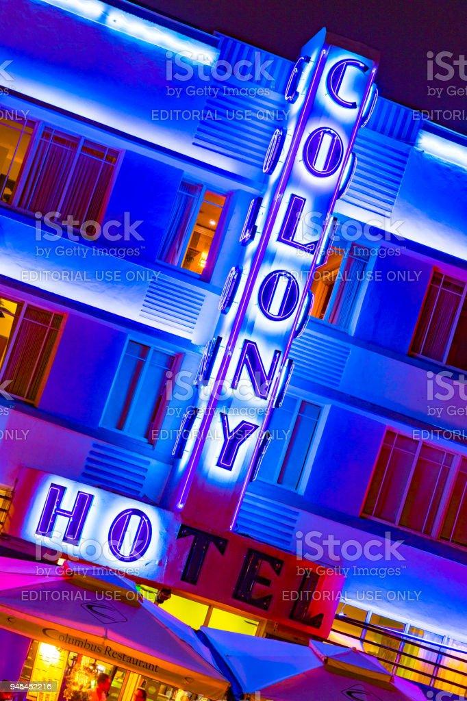 colony hotel neon light in the historic Art Deco District stock photo