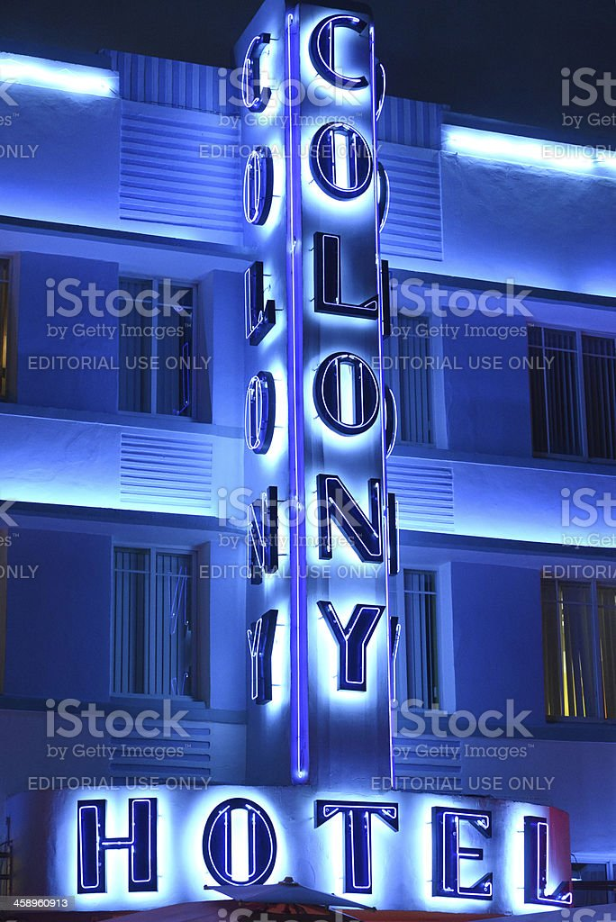 Colony Hotel Neon Sign, Miami Beach, USA royalty-free stock photo