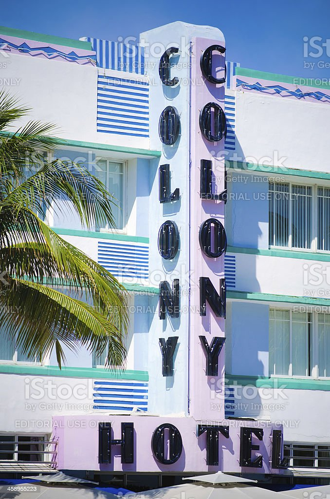 Colony Hotel sign along Ocean Drive in Miami Beach, FL stock photo
