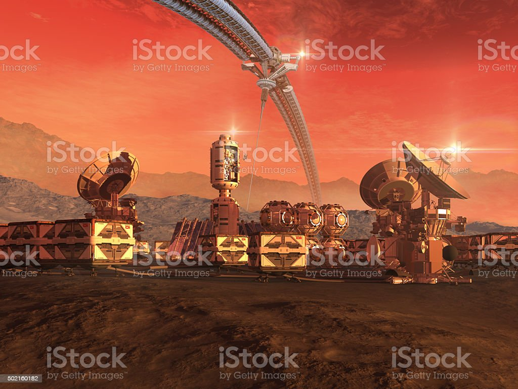 Colony on a Mars like red planet stock photo