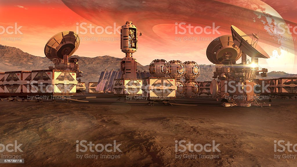 Colony on an arid planet stock photo