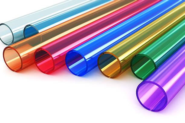 farbe-acryl-kunststoff-röhren - farbiges glas stock-fotos und bilder