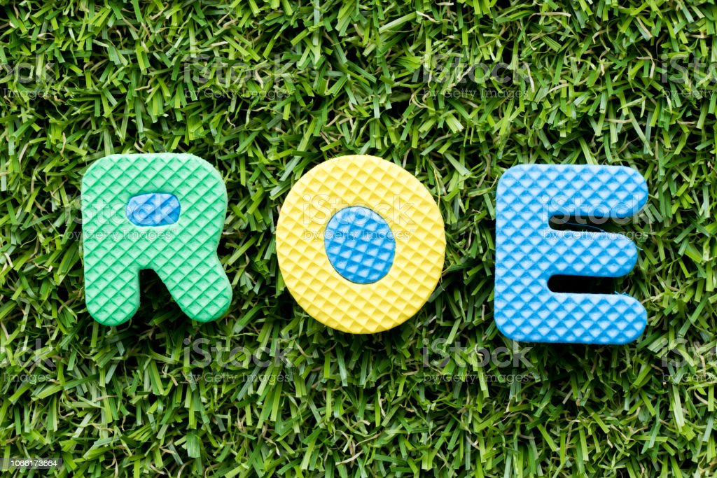 Color alphabet letter in word ROE (Abbbreviation of Return on equity) on artificial green grass background stock photo