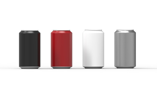 Color aluminum cans isolated on white background. 3D Rendering.