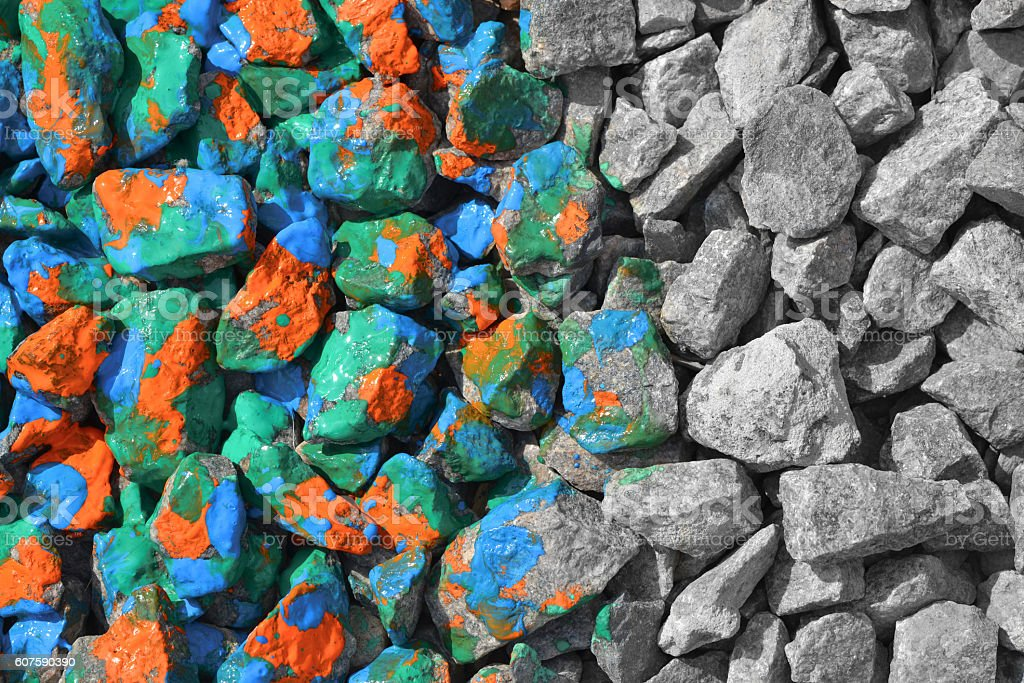 color and black an white stones stock photo